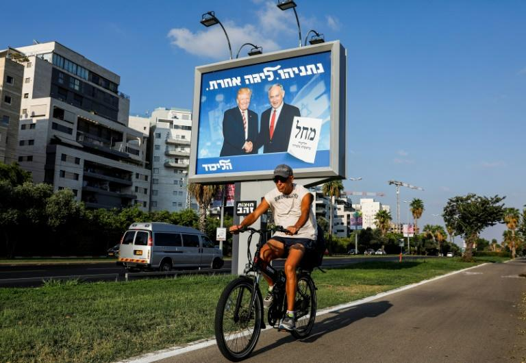 Netanyahu has campaigned with a combination of divisive populism and attempts to portray himself as a world statesman by talking up his relationships with foreign leaders including US President Donald Trump and Russian President Vladimir Putin (AFP Photo/AHMAD GHARABLI)
