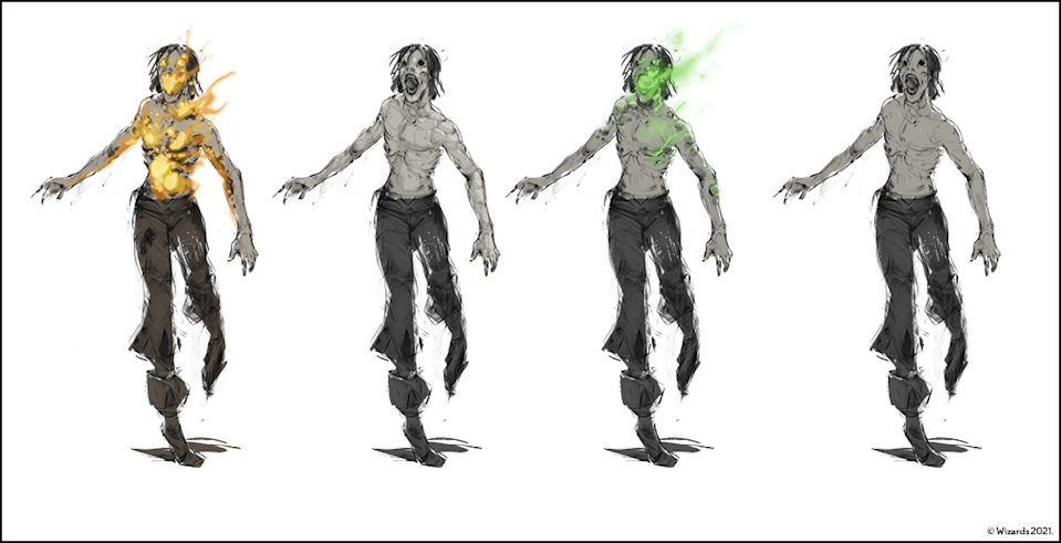 Concept art of Ravenloft zombies animated by various types magic