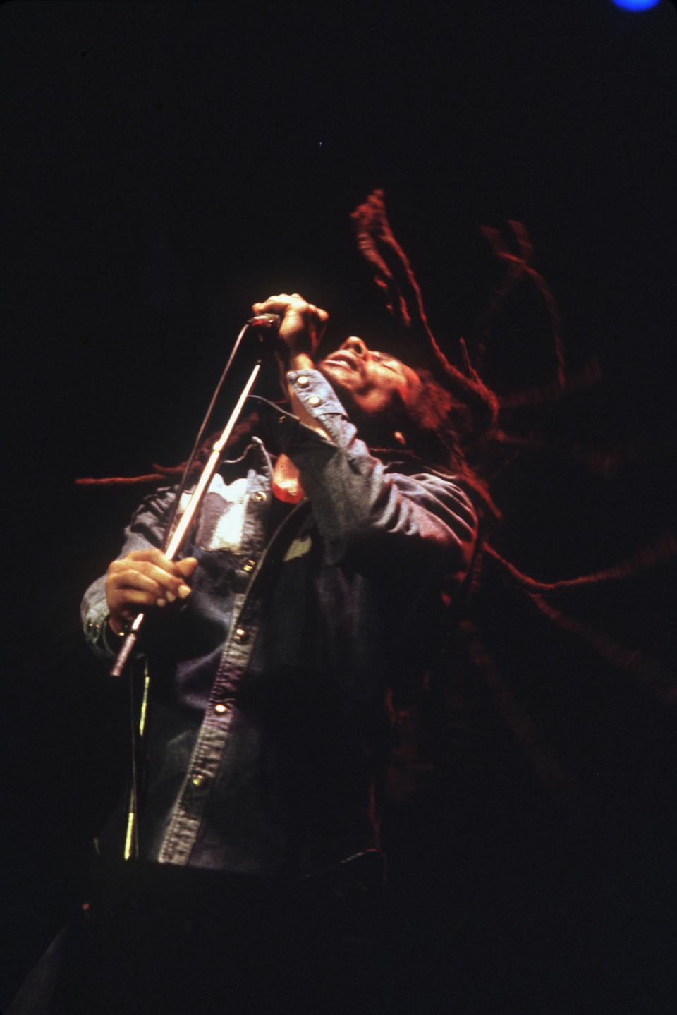 Jamaican reggae singer Bob Marley gives the last concert of his French tour at Le Bourget. The event was the biggest concert France has ever seen. (Photo by © Jacques Pavlovsky/Sygma/CORBIS/Sygma via Getty Images)