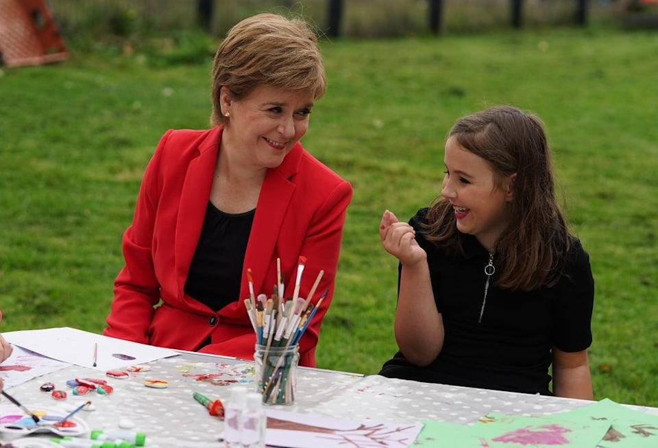 The First Minister met Carley-Jo during a visit to an after school programme in Glasgow (Andrew Milligan/PA) (PA Wire)