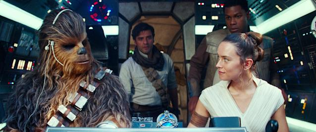 Chewbacca, Poe, Rey and Finn aboard the Millennium Falcon in <em>Star Wars: The Rise of Skywalker</em>. (Photo: Walt Disney Studios Motion Pictures / © Lucasfilm / courtesy Everett Collection)
