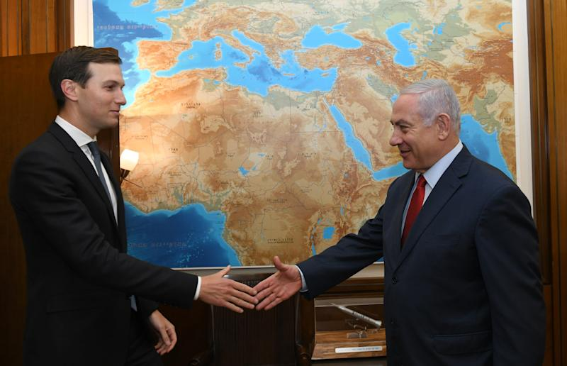 Benjamin Netanyahu, right, with Jared Kushner