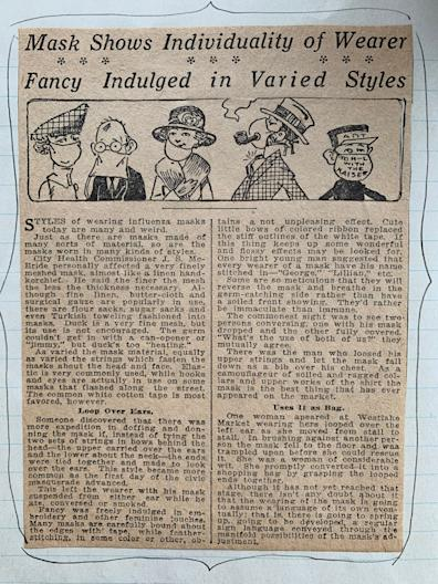 An article from the local Seattle paper about the fashions in masks due to the Spanish influenza epidemic in 1918.