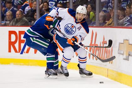 The Oilers' Taylor Hall has proven he can put up points but can he stay healthy for a full season? (Getty)
