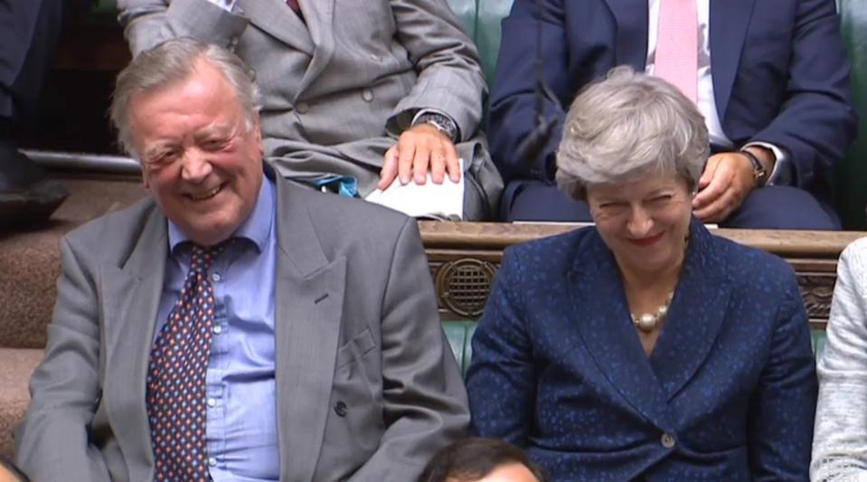 Kenneth Clarke and former prime minister Theresa May look on as Prime Minister Boris Johnson makes a statement to MPs in the House of Commons, London, on the G7 Summit in Biarritz. (Photo by House of Commons/PA Images via Getty Images)