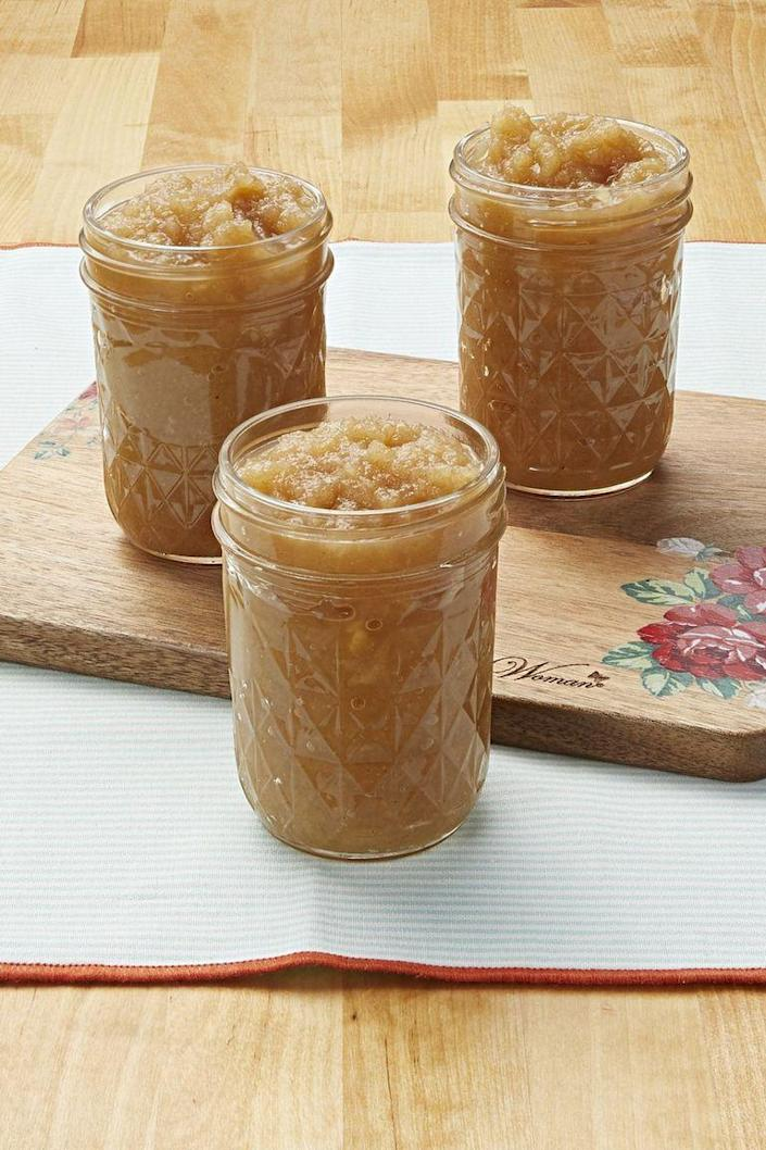 """<p>Once you make homemade apple sauce for the first time, you'll wonder why you've never tried it before.</p><p> <strong><a href=""""https://www.thepioneerwoman.com/food-cooking/recipes/a11239/homemade-applesauce/"""" rel=""""nofollow noopener"""" target=""""_blank"""" data-ylk=""""slk:Get the recipe."""" class=""""link rapid-noclick-resp"""">Get the recipe.</a></strong></p>"""