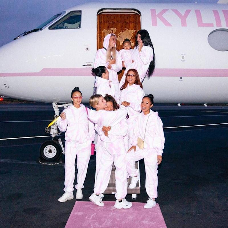 Kylie Jenner, Draya Michele and the Kylie Skin squad boarding a private jet