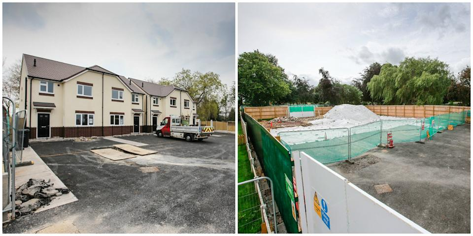 BEFORE (LEFT) AND AFTER (RIGHT) - Four brand new council homes in Chesterfield, Derbyshire,which cost nearly £1m to build, were torn down because they were blighted by poisonous GAS. November 02 2019. The unoccupied houses were razed to the ground after it was discovered they'd been built on top of a 'burning coal seam' which had flooded the properties with potentially deadly carbon dioxide