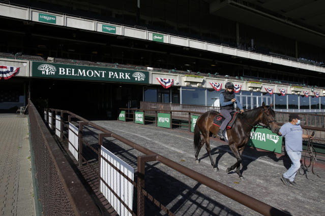 A horse is led to the track for a workout at Belmont Park in Elmont, N.Y., Wednesday, June 17, 2020. The 152nd running of the Belmont Stakes is scheduled to be run on Saturday. (AP Photo/Seth Wenig)