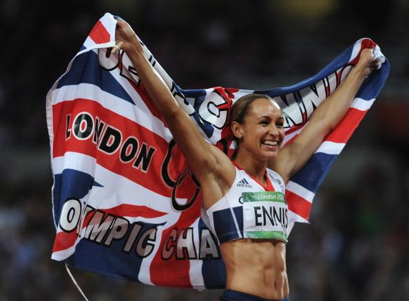 LONDON, ENGLAND - AUGUST 04:  Jessica Ennis of Great Britain celebrates winning gold in the Women's Heptathlon on Day 8 of the London 2012 Olympic Games at Olympic Stadium on August 4, 2012 in London, England.  (Photo by Harry How/Getty Images)