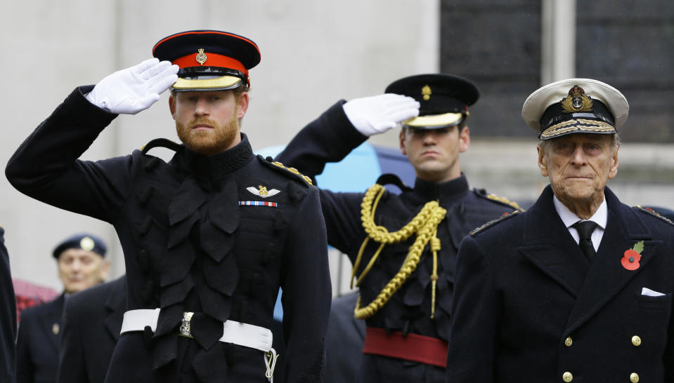 Britain's Prince Harry (L) salutes as he stands alongside Prince Philip during a visit to the Field of Remembrance at Westminster Abbey in London, Britain November 5, 2015. REUTERS/Kirsty Wigglesworth/pool
