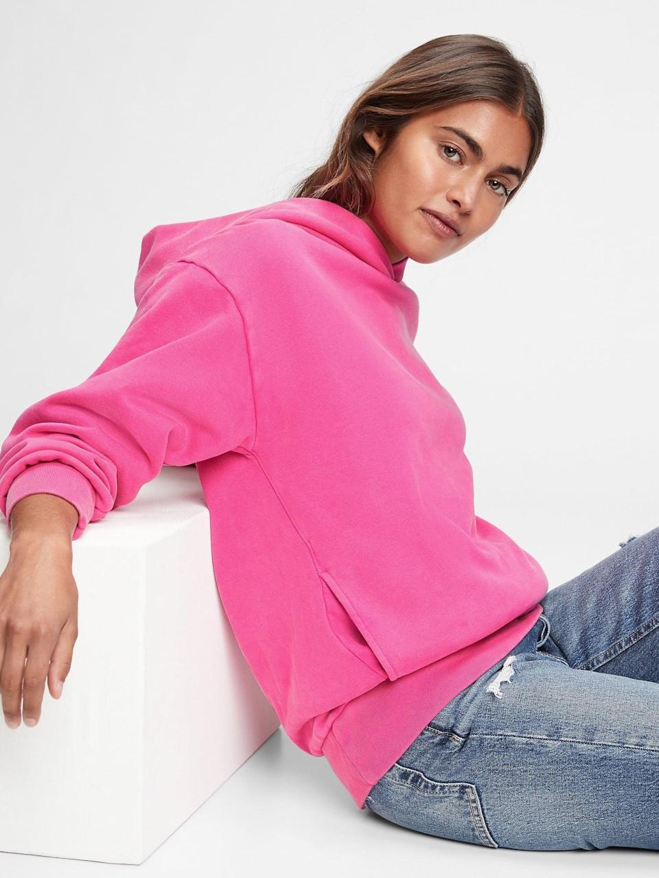 <p>Comfy, casual and cool. But make it Valentine's. Lounge around in your soon-to-be-favorite <span>Gap Oversized Hoodie</span> ($45, originally $60).</p>