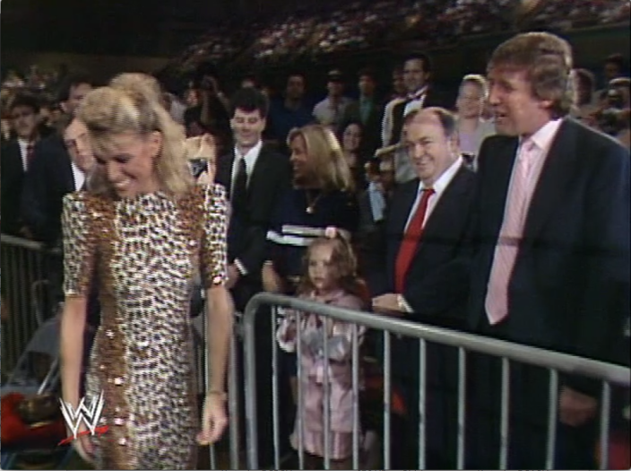 Donald Trump and Robert Libutti to his immediate left after greeting Vanna White at Wrestlemania in 1988. (Yahoo News)