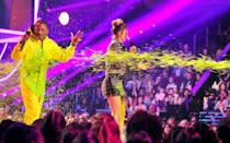 <p>Meanwhile Pharrell arrived in a full-blown hazmat suit.</p>