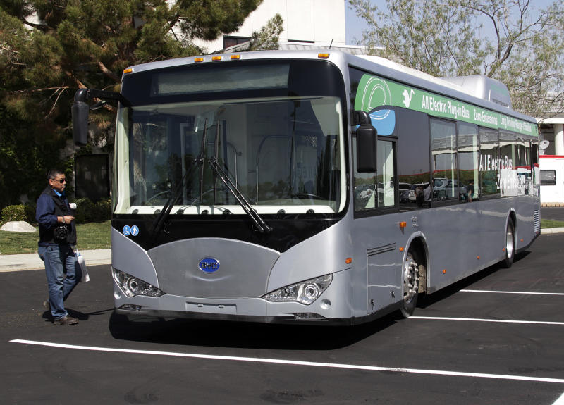 An all-electric bus is seen at the announcement of the opening of an electric bus manufacturing plant by the Chinese firm BYD, in the Southern California city of Lancaster Wednesday, May 1, 2013. BYD, known as Build Your Dream, is a major producer of batteries and electric vehicles in China. (AP Photo/Reed Saxon)