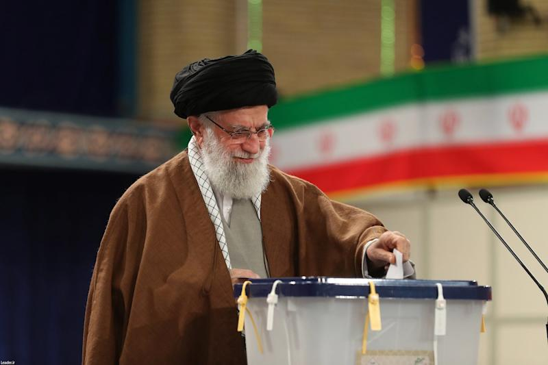 Iran's supreme leader Ayatollah Ali Khamenei casts his ballot in the parliamentary elections at a polling station in Tehran: EPA