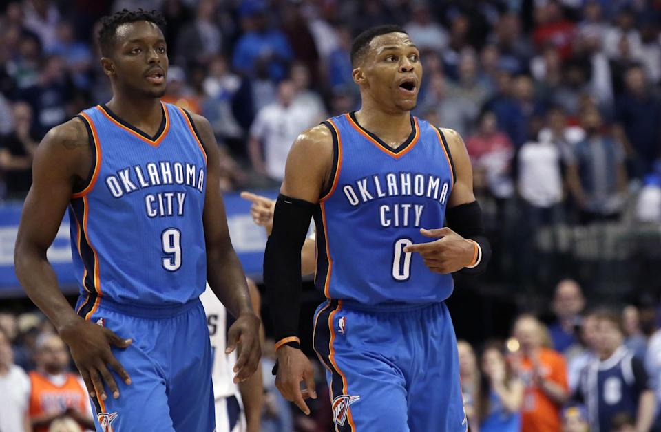 Russell Westbrook was a bad, bad man on Monday night, especially in the closing minutes against the Mavericks. (AP)