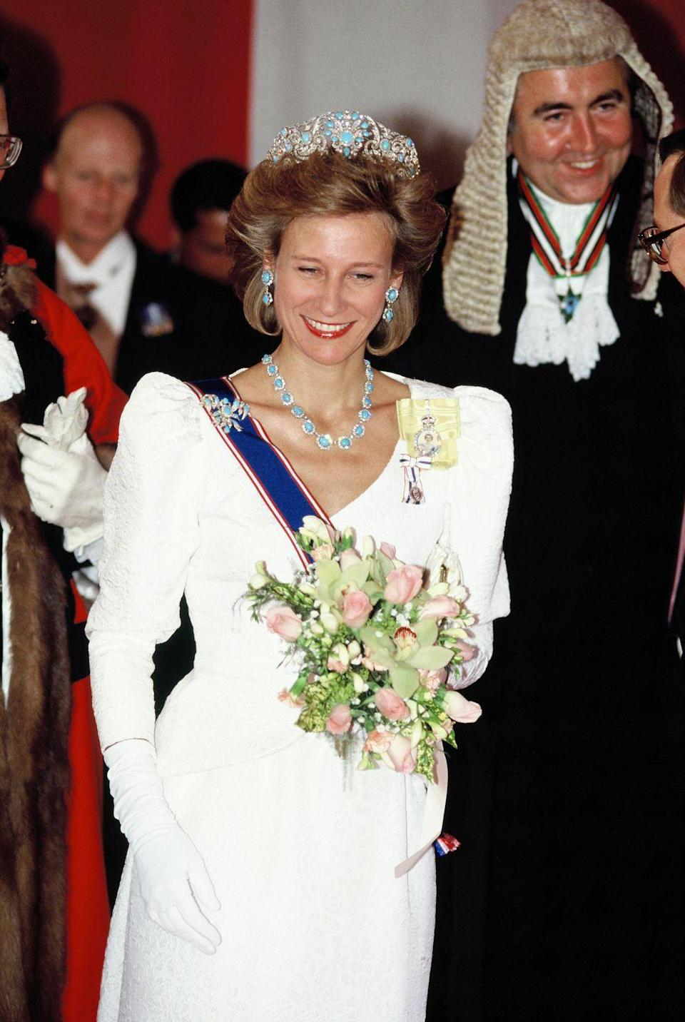 <p>Birgitte, Duchess of Gloucester, was photographed at a state banquet in 1989 wearing the Teck Turquoise Parure, which belonged to her grandmother-in-law, Queen Mary. The pieces, including a tiara, earrings, necklace, and brooches, were originally commissioned by Queen Mary's mother, Princess Mary, Duchess of Teck. The future Queen Mary inherited the pieces in stages. First, the brooches as a confirmation present, and then the rest in 1893 when she married the future King George V. She later passed down the parure as a wedding gift to her daughter-in-law Alice, Duchess of Gloucester. Today, it belongs to Alice's daughter-in-law Birgitte, wife of the current Duke of Gloucester (who is the queen's cousin). </p>