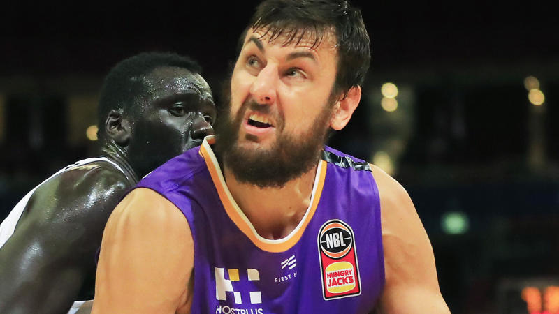 Andrew Bogut is pictured playing for the Sydney Kings.