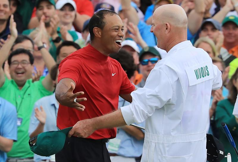 Tiger Woods and Joe LaCava re-watching their Masters win went down exactly as you'd imagine