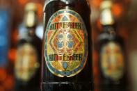 Bottles of Butterbeer are pictured in New York City