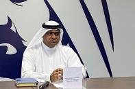 Nabil Sultan, Divisional Senior Vice President, Emirates SkyCargo speaks during at news conference at the International Humanitarian City in Dubai