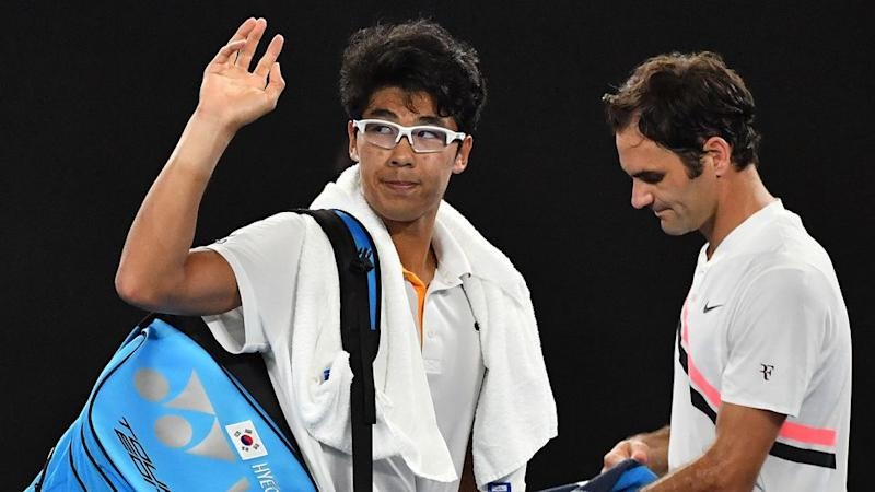 Federer offered kind words of encouragement for Chung. Pic: Getty