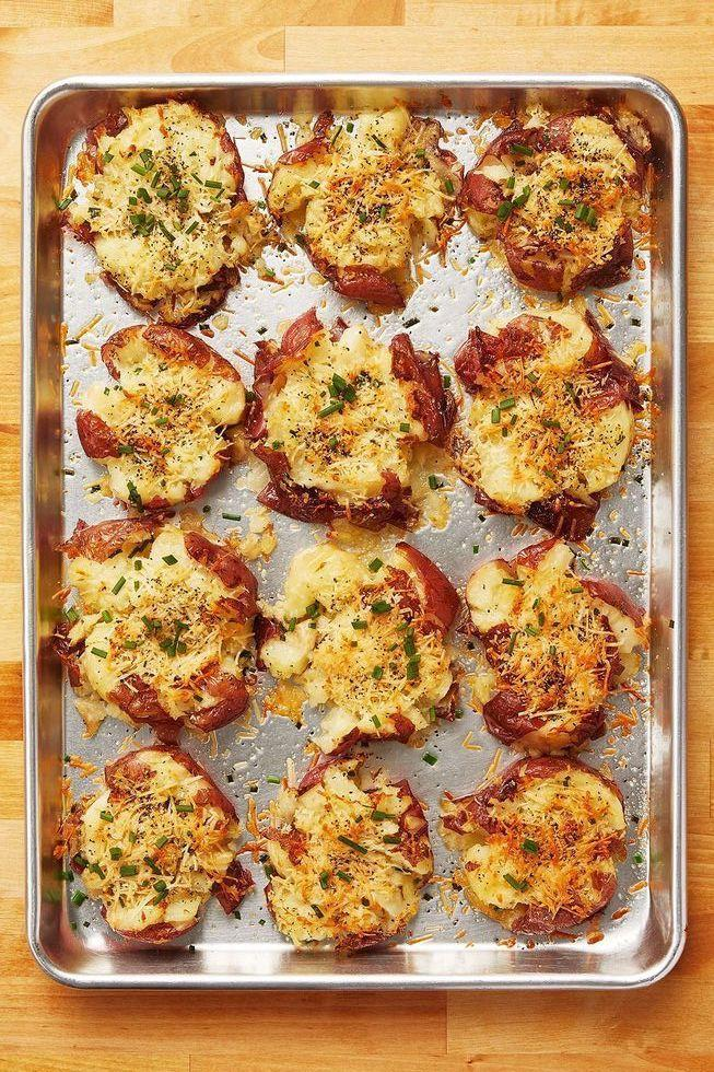 """<p>Try Ree's popular potato recipe for a fun Easter side. It's a simple twist on a baked potato, perfect for serving a crowd.</p><p><a href=""""https://www.thepioneerwoman.com/food-cooking/recipes/a10944/crash-hot-potatoes/"""" rel=""""nofollow noopener"""" target=""""_blank"""" data-ylk=""""slk:Get the recipe."""" class=""""link rapid-noclick-resp""""><strong>Get the recipe.</strong></a></p><p><a class=""""link rapid-noclick-resp"""" href=""""https://go.redirectingat.com?id=74968X1596630&url=https%3A%2F%2Fwww.walmart.com%2Fsearch%2F%3Fquery%3Dbaking%2Bsheets&sref=https%3A%2F%2Fwww.thepioneerwoman.com%2Ffood-cooking%2Fmeals-menus%2Fg35585877%2Feaster-recipes%2F"""" rel=""""nofollow noopener"""" target=""""_blank"""" data-ylk=""""slk:SHOP BAKING SHEETS"""">SHOP BAKING SHEETS</a></p>"""