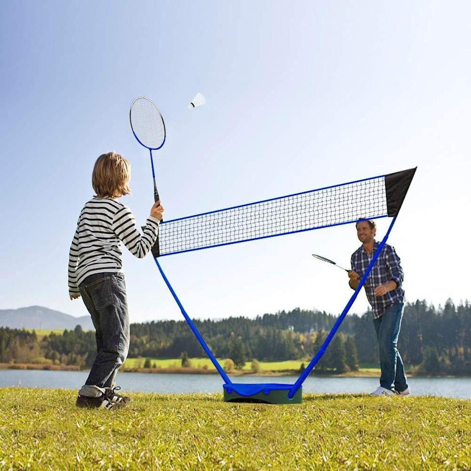 """""""Since we spend long days at the beach, we bring entertainment for the family,"""" Taylor says. That includes a portable badminton set that sets up within a few minutes. Even better, all parts (a 10-foot net, two steel badminton rackets, and two badminton shuttlecocks) can be stored in the base for easy transportation. """"Playing a simple, hilarious sport on the sand is a great break from crashing waves,"""" he says. $57, Amazon. <a href=""""https://www.amazon.com/dp/B08BZQ2DMC"""" rel=""""nofollow noopener"""" target=""""_blank"""" data-ylk=""""slk:Get it now!"""" class=""""link rapid-noclick-resp"""">Get it now!</a>"""