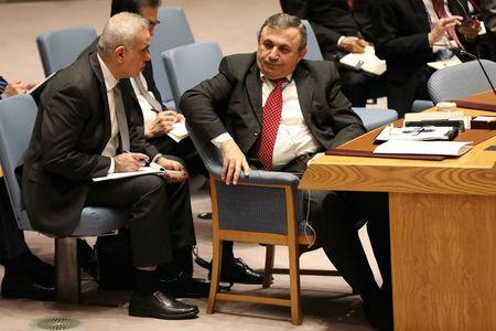 Syria's Deputy U.N. Ambassador Mounzer Mounzer sits during a meeting at the United Nations Security Council on Syria at the United Nations Headquarters in New York City