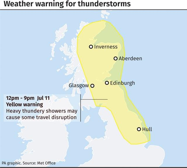 Weather warning for thunderstorms