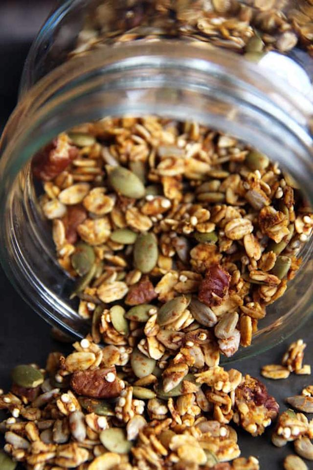 "Start the day off right with this nutrient-packed granola that's got tons of flavor (and relatively little added sugar).  <a href=""https://leelalicious.com/healthy-pumpkin-granola/"" rel="""">Get the recipe here</a>."