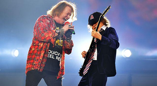 Axl Rose and Angus Young perform as AC/DC at the Olympic Stadium in London back in June last year. Source: AAP