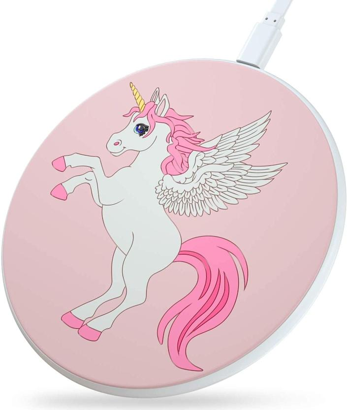 <p>This <span>Beanlieve Unicorn Wireless Charger</span> ($7) is compatible with most phones.</p>