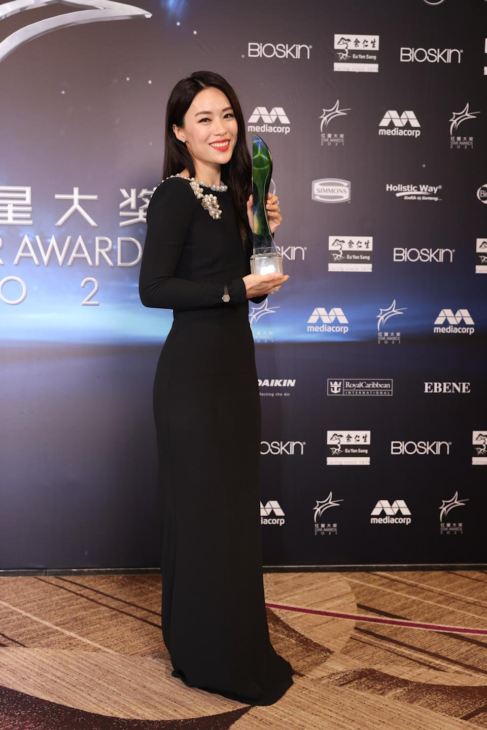Rebecca Lim at Star Awards held at Changi Airport on 18 April 2021. (Photo: Mediacorp)