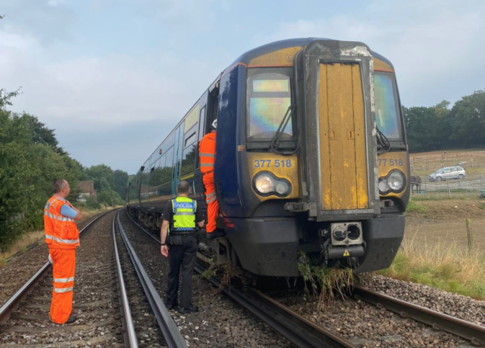 Passengers were evacuated from the train in Kent after it got stuck following a landslide. (Twitter/British Transport Police)