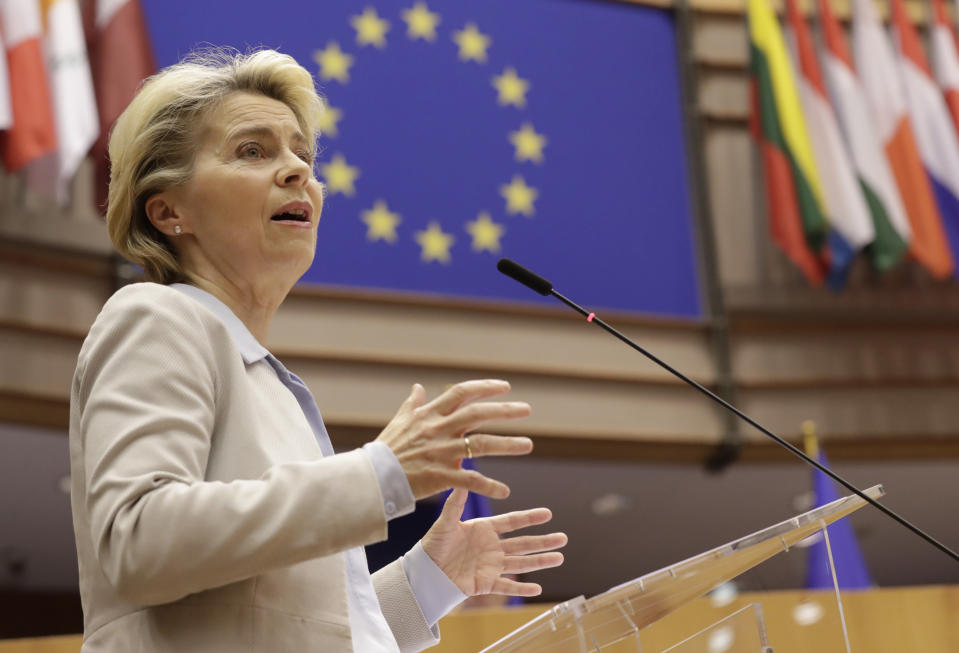 European Commission President Ursula von der Leyen speaks during a plenary session at the European Parliament in Brussels, Wednesday, Nov. 25, 2020. European Commission President Ursula von der Leyen said Wednesday that it is still uncertain if a deal on the future relationship between the EU and the UK will be possible before the end of the year. (Olivier Hoslet, Pool via AP)