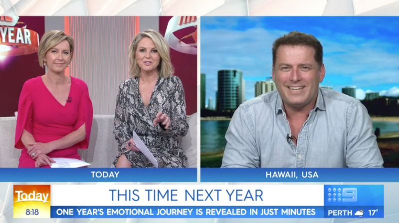 This Time Next Year Karl Stefanovic returned to the Today show on Tuesday morning as he's interviewed by Deborah Knight and Georgie Gardner on the Channel Nine breakfast show