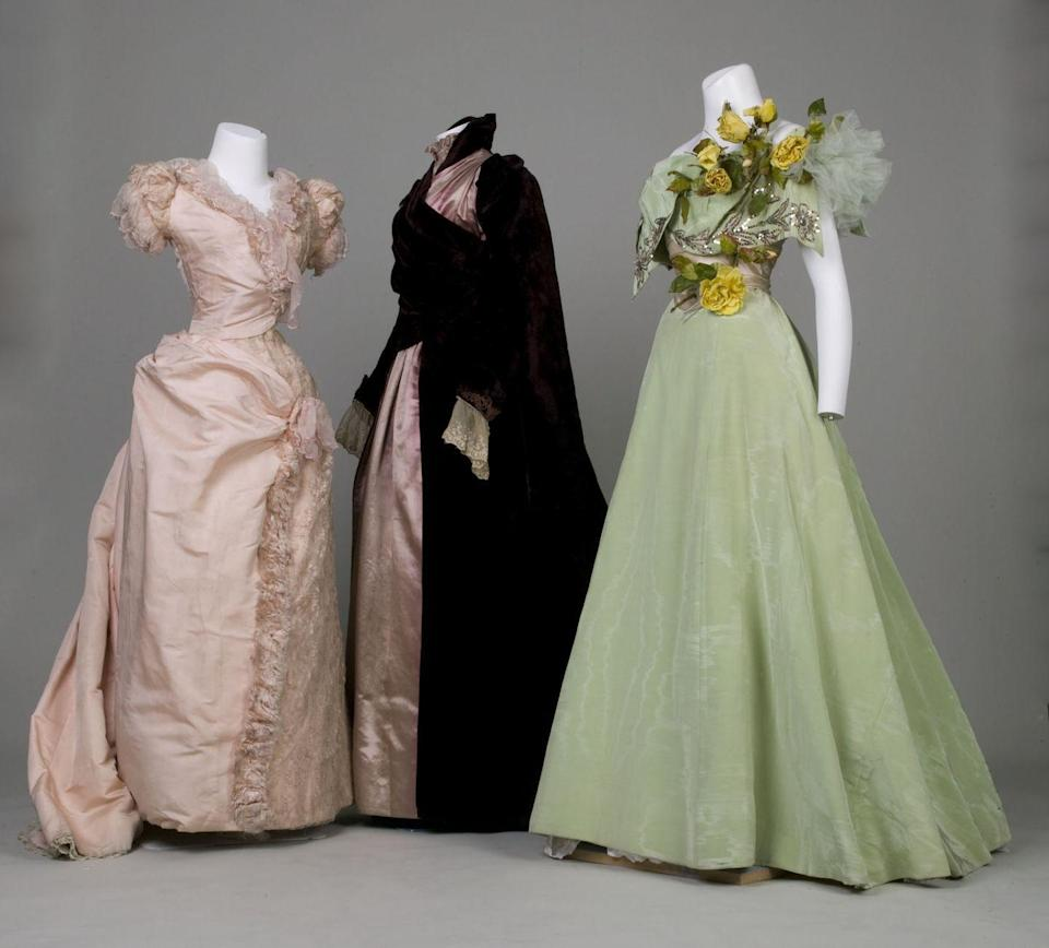 """<p>By the end of the 19th century, brides began experimenting with colorful bridesmaids dresses and the all-white wedding party slowly started to become less common. White, green and rose were <a href=""""http://www.avictorian.com/weddingattire.html"""" rel=""""nofollow noopener"""" target=""""_blank"""" data-ylk=""""slk:the most popular colors in America"""" class=""""link rapid-noclick-resp"""">the most popular colors in America</a>, while gray, lilac, and violet were common in England. </p>"""