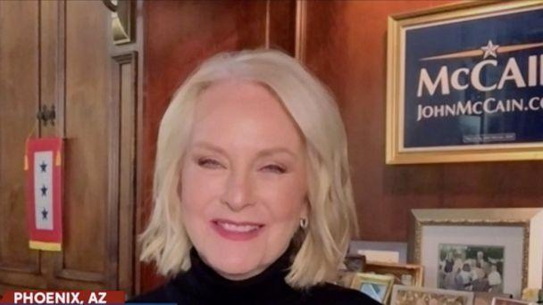 PHOTO: Cindy McCain reacts to former Vice President Joe Biden's apparent win over President Donald Trump during her appearance on 'The View' Monday, Nov. 9, 2020. (ABC News)