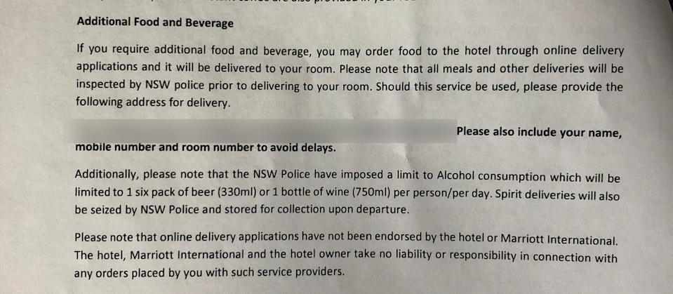 Welcome packs at hotel specify alcohol limits and prohibit any spirits being delivered. Photo: Supplied