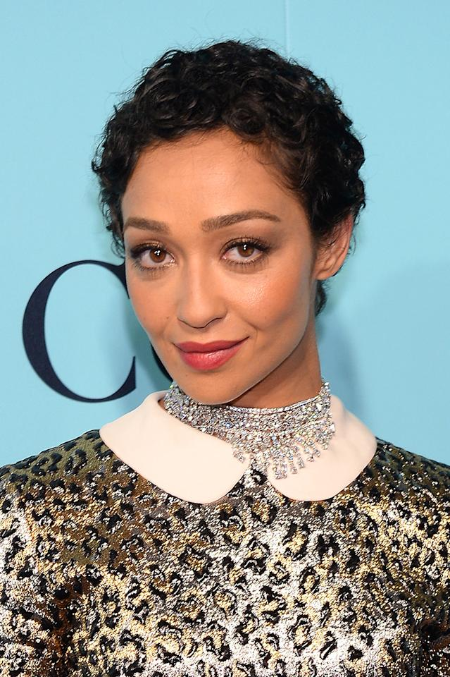 <p>Actress Ruth Negga was spotted at the Tiffany & Co. 2017 Blue Book Collection Gala at St. Ann's Warehouse sporting a gorgeous curly pixie cut. (Photo: FilmMagic) </p>