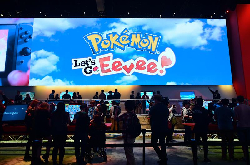 People wait in line to play 'Pokemon: Let's Go Eevee' at the 24th Electronic Expo California on June 12, 2018 (AFP/Getty Images)