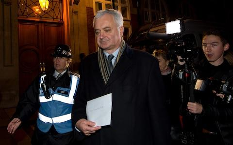 Andrew Murray, chair of the Stop The War Coalition and advisor to Jeremy Corbyn, delivers a letter to the Conservative Party Headquarters during the Stop The War Coalition's emergency protest on December 1, 2015 - Credit: Ben Pruchnie/Getty Images