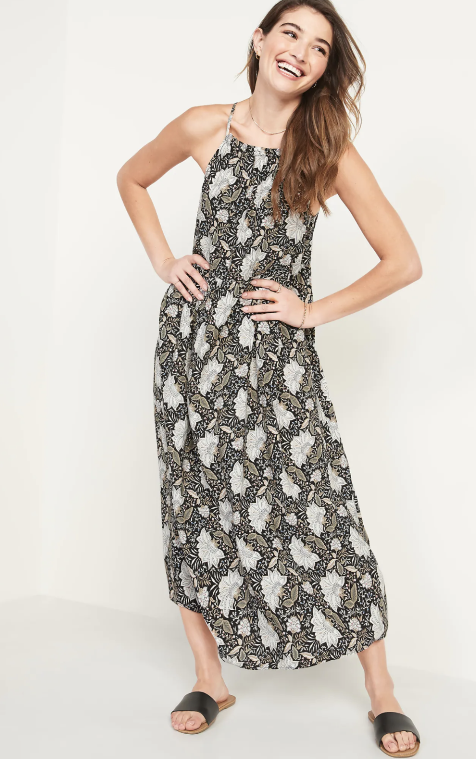 Sleeveless High-Neck Maxi Swing Dress for Women - Old Navy.