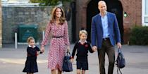 <p>Back to school! The proud parents escort Princess Charlotte and Prince George to Thomas's Battersea for their first day.</p>