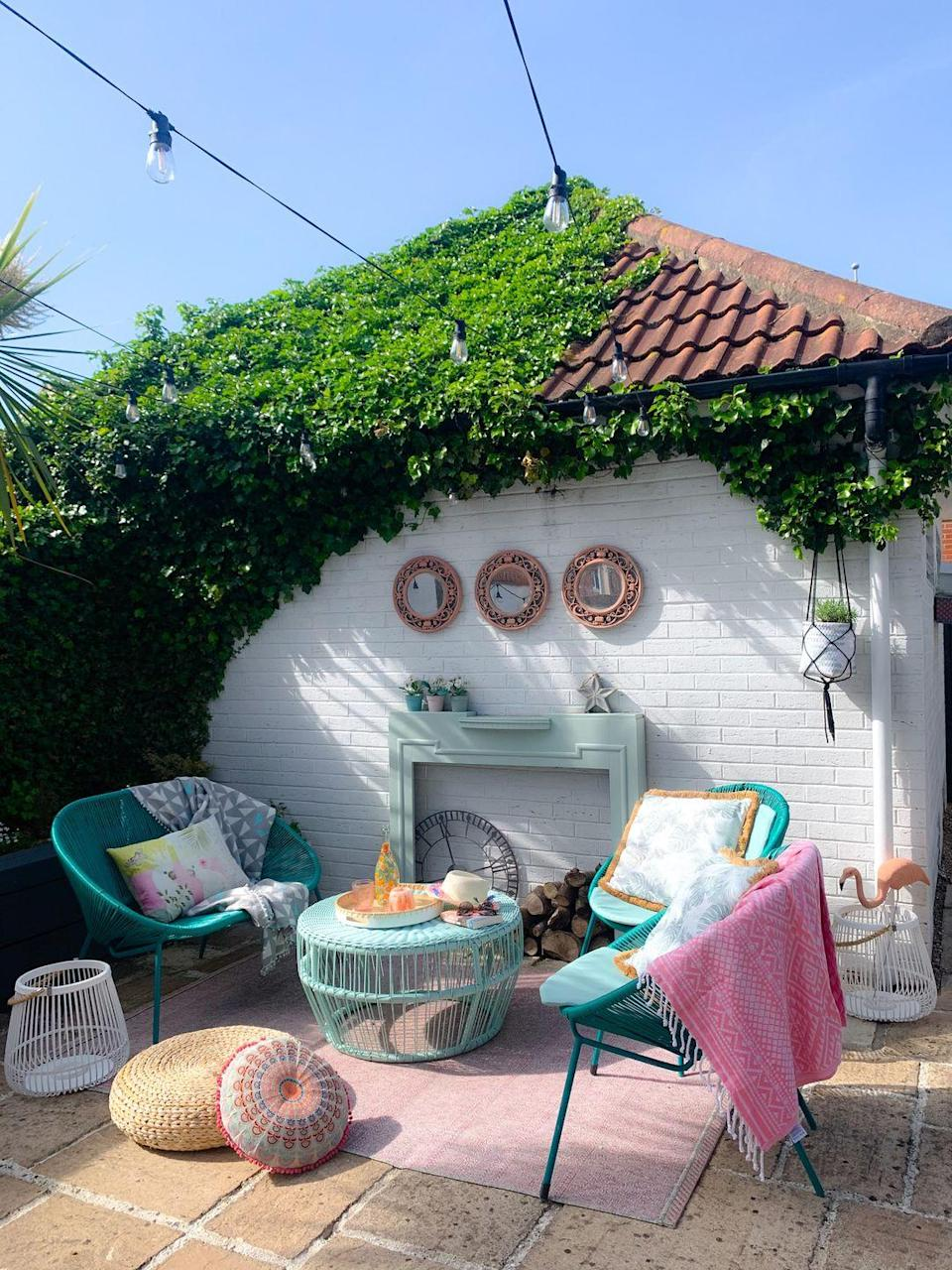 <p>'Inspired by a trip to Miami, we've loved bringing the mix of pastels, palm prints, flamingo and Art Deco geometric shapes to the garden,' Kel explains.</p>