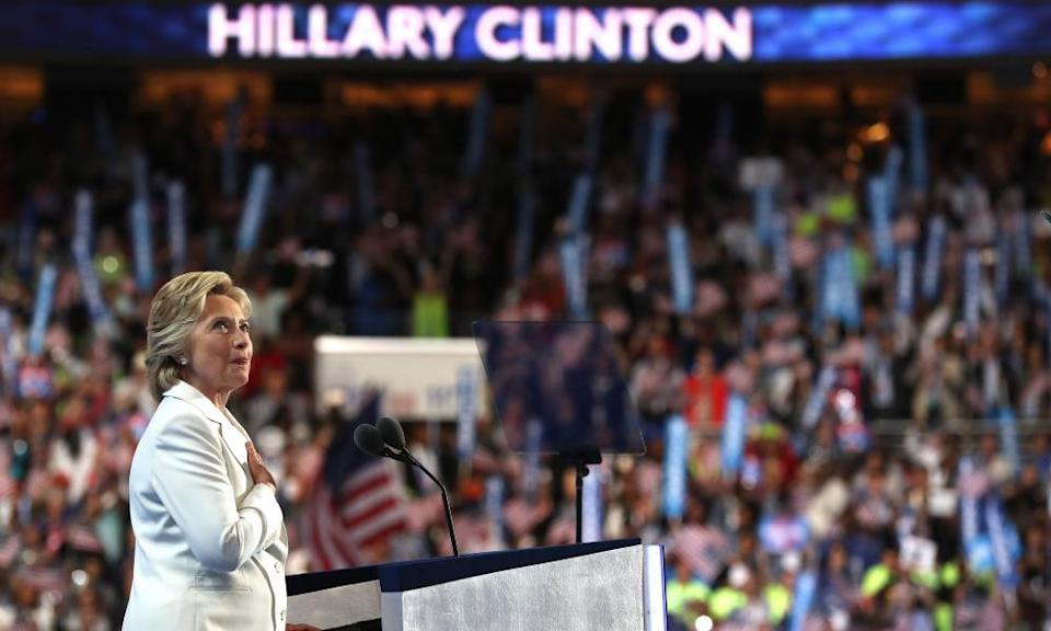 Democratic presidential candidate Hillary Clinton  at the party's convention in Philadelphia, Pennsylvania, in July 2016