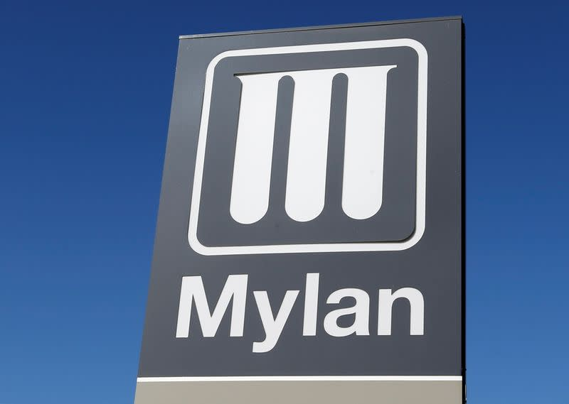 Logo of Mylan Laboratories, a company primarily engaged in the commercialization of generic drugs is pictured in Merignac near Bordeaux