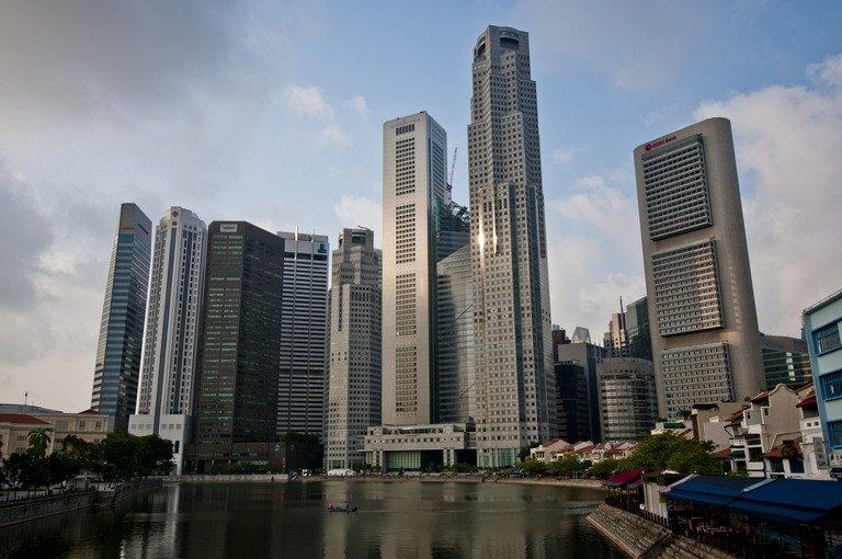 The skyline of Singapore's financial district on August 10, 2011